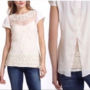 Anthro Maeve Embroidered Tulle Lace Top with Wings